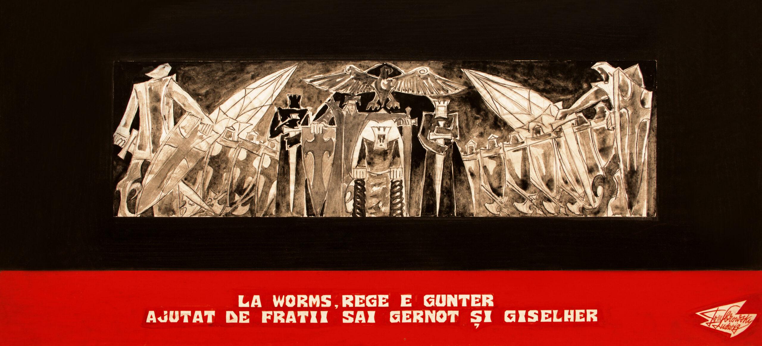 La Worms, rege e Gunter ajutat de frații săi Gernot și Giselher